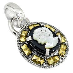 Natural white blister pearl carved lady face marcasite 925 silver pendant c22216