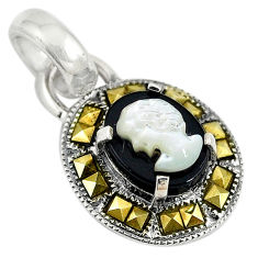 Natural white blister pearl carved lady face marcasite 925 silver pendant c22219