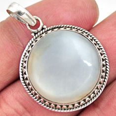 19.72cts natural white ceylon moonstone oval 925 sterling silver pendant d41841
