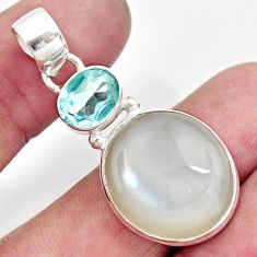 Clearance Sale- 19.72cts natural white ceylon moonstone topaz 925 sterling silver pendant d41812