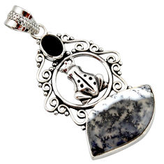16.06cts natural white dendrite opal (merlinite) 925 silver frog pendant d42357