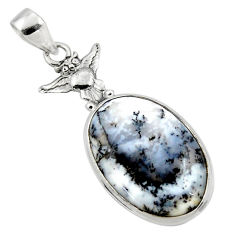 17.57cts natural white dendrite opal (merlinite) 925 silver owl pendant r50542