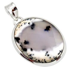 20.51cts natural white dendrite opal (merlinite) 925 silver pendant d42387