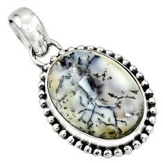 13.70cts natural white dendrite opal (merlinite) 925 silver pendant r26530
