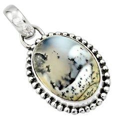 13.15cts natural white dendrite opal (merlinite) 925 silver pendant r26531