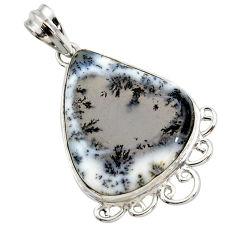 19.23cts natural white dendrite opal (merlinite) 925 silver pendant r27898