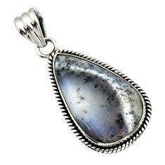 20.35cts natural white dendrite opal (merlinite) 925 silver pendant r32198