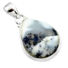 14.23cts natural white dendrite opal (merlinite) 925 silver pendant r46081