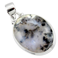 15.22cts natural white dendrite opal (merlinite) 925 silver pendant r46094