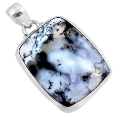 21.48cts natural white dendrite opal (merlinite) 925 silver pendant r50355