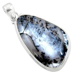 25.57cts natural white dendrite opal (merlinite) 925 silver pendant r50362