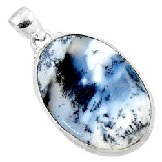 19.23cts natural white dendrite opal (merlinite) 925 silver pendant r50376