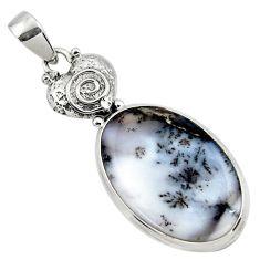 19.27cts natural white dendrite opal (merlinite) 925 silver pendant r50553