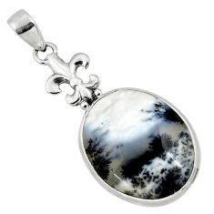 20.65cts natural white dendrite opal (merlinite) 925 silver pendant r50555