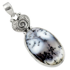 20.65cts natural white dendrite opal (merlinite) 925 silver pendant r50559