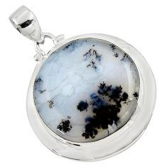 21.30cts natural white dendrite opal (merlinite) 925 silver pendant r50572