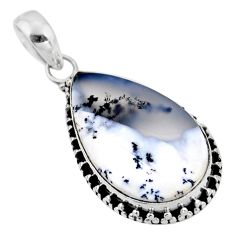 14.72cts natural white dendrite opal (merlinite) 925 silver pendant r53881