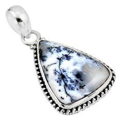 13.70cts natural white dendrite opal (merlinite) 925 silver pendant r53882