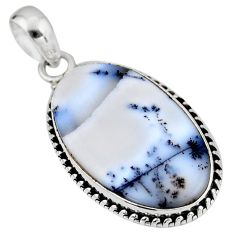 14.23cts natural white dendrite opal (merlinite) 925 silver pendant r53883