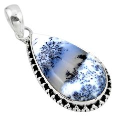 15.05cts natural white dendrite opal (merlinite) 925 silver pendant r53885