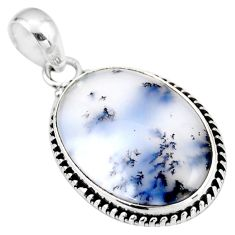 16.62cts natural white dendrite opal (merlinite) 925 silver pendant r53887