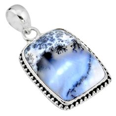 18.15cts natural white dendrite opal (merlinite) 925 silver pendant r53893