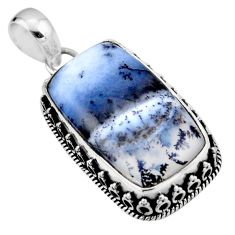 21.18cts natural white dendrite opal (merlinite) 925 silver pendant r53894