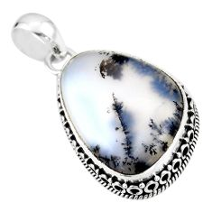 17.57cts natural white dendrite opal (merlinite) 925 silver pendant r53896