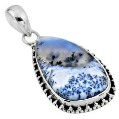 13.70cts natural white dendrite opal (merlinite) 925 silver pendant r53905
