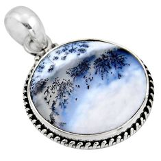 16.65cts natural white dendrite opal (merlinite) 925 silver pendant r53906