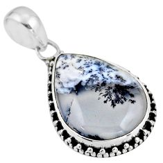 14.72cts natural white dendrite opal (merlinite) 925 silver pendant r53910