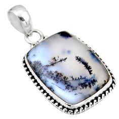 14.72cts natural white dendrite opal (merlinite) 925 silver pendant r53911