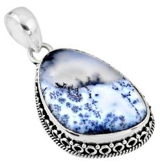 16.62cts natural white dendrite opal (merlinite) 925 silver pendant r53914