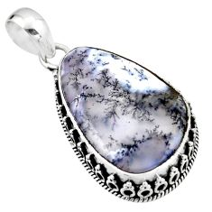 19.23cts natural white dendrite opal (merlinite) 925 silver pendant r53915