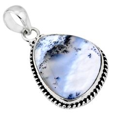 16.18cts natural white dendrite opal (merlinite) 925 silver pendant r53917