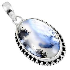 15.08cts natural white dendrite opal (merlinite) 925 silver pendant r53918