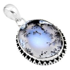 15.65cts natural white dendrite opal (merlinite) 925 silver pendant r53919