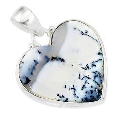 12.65cts natural white dendrite opal (merlinite) 925 silver pendant r86242