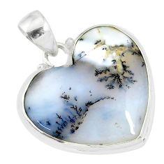 15.72cts natural white dendrite opal (merlinite) 925 silver pendant r86243