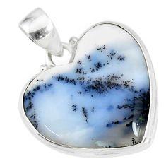 14.23cts natural white dendrite opal (merlinite) 925 silver pendant r86247