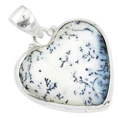13.08cts natural white dendrite opal (merlinite) 925 silver pendant r86253