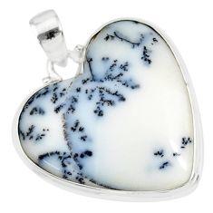 16.74cts natural white dendrite opal (merlinite) 925 silver pendant r86261