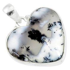 14.23cts natural white dendrite opal (merlinite) 925 silver pendant r86266
