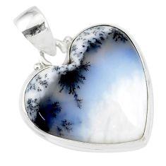 14.47cts natural white dendrite opal (merlinite) 925 silver pendant r86273