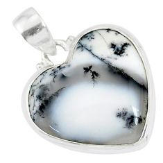 14.10cts natural white dendrite opal (merlinite) 925 silver pendant r86280