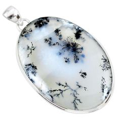 34.48cts natural white dendrite opal (merlinite) 925 silver pendant r86561