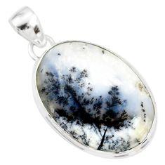 16.20cts natural white dendrite opal (merlinite) 925 silver pendant r86585