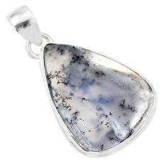 15.08cts natural white dendrite opal (merlinite) 925 silver pendant r86598