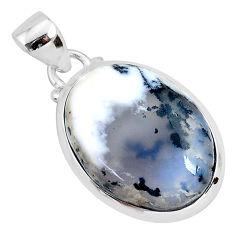 12.22cts natural white dendrite opal (merlinite) 925 silver pendant r94343