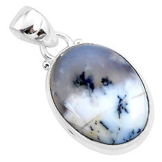 11.17cts natural white dendrite opal (merlinite) 925 silver pendant r94346